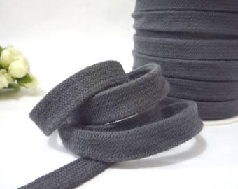5-20 yd Thick Charcoal Gray /Dark Gray Cotton Flat Tape Braid Flat Cord Tubular Tape Tube Tape w/o center string almost 5/8 inch 15mm CC13