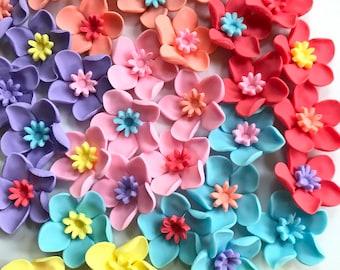 fondant flowers, 36pcs Assorted pastel color combination Hawaiian tropical, edible flowers, cupcake decorations, edible cake  pop flowers