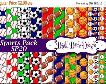 BTS Sports Pack Digital Scrapbooking  Paper Set - Instant Download