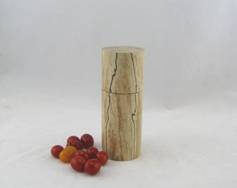 Spices and peppermill grinder in Spalted maple,Cylinder style with rod mechanisme  6 7/8 in. Item no: 592
