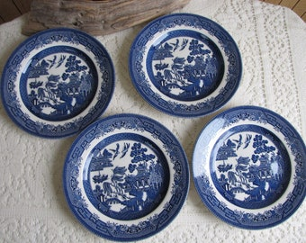 Blue Willow Salad Plates Made in England Set of Four (4) Vintage Dinnerware and Replacements
