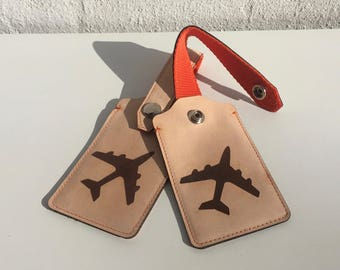 Laser Cut and Engraved Leather Luggage Tag