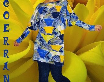 Tunic knit stretch, printed tunic, long tunic dress tunic 'Yellow' blue.. '
