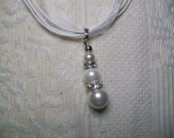 Handmade White Pearl Necklace white glass and rhinestone Choker neck organza cord