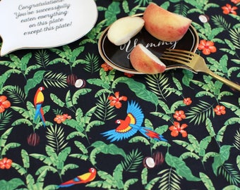 Tropical Flower and Birds Pattern Cotton Fabric by Yard - Black Background