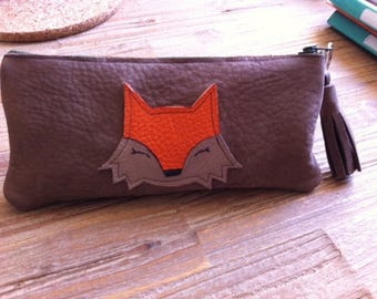 small Fox leather clutch-
