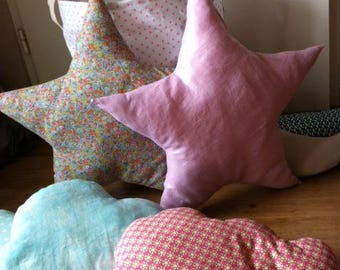 liberty star XL cushion or glittery pink linen Deco child's room