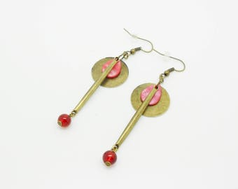 diy Kit earrings pearl earrings and red beads, stick and sequin