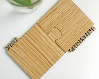 Oak Coasters - Wood Coasters - 5th Anniversary gift - personalised gift for couples - wedding gift - oak letters - rustic drinkware gift