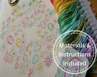 Definitive Beginner Traditional Transfer Embroidery Kit 'Beginner Blossoms' (Pastels) *NEWBIES START HERE!* ; Beautiful Kits By Maggie Gee