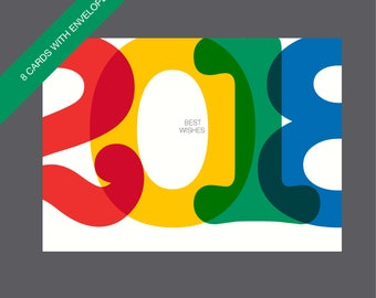 Boxed New Year Cards, Unique New Year Cards, 2018 Cards, Happy New Year Cards, Modern Holiday Cards, Happy 2018 Cards, Typographic Cards