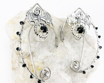 Elven Ear Cuffs - Elf Ears - Steampunk Elven Ears - Fairy Ears - Ear Cuffs - Gothic Jewelry - Dragon Ear Cuffs - Elf Ear Cuffs