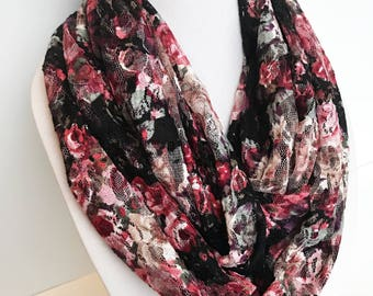 Lace Infinity Scarf, Pink & Black Scarf Mothers Day Gift For Mom Lightweight Scarf, Spring Infinity Scarf Colorful Scarf Gothic Dark Florals