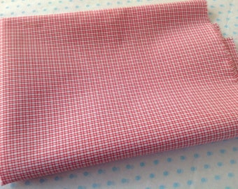 Red check fabric 100% cotton for projects crafts sewing quilting small check