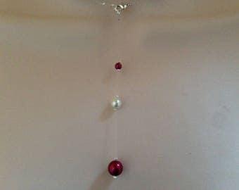 Back nylon thread jewel ivory pearls / Maroon evening wedding ceremony