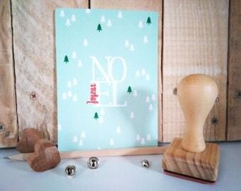 Merry Christmas tree illustration greeting card