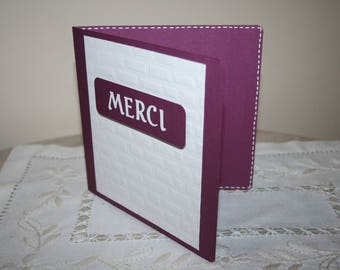 Plum and white thank you card