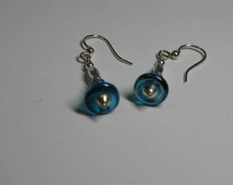 Handbell Earrings with teal colored bell beads and silver accents