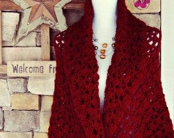 Crochet Prayer Shawl, Soft Crochet Wrap, Lacy Shawl, Triangle Seasonal Shawl, Crochet Lap Blanket, Lacy Shawl, Women Clothing, Burgundy Gray