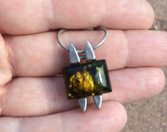 Green Baltic amber modern sterling silver necklace