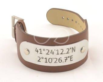 mens coordinate bracelet, men PU leather cuff, long distance boyfriend gift, men longitude latitude bracelet, groom gift, men gifts
