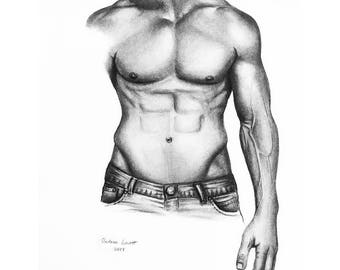 Male Study - No. 2 - Original framed charcoal drawing