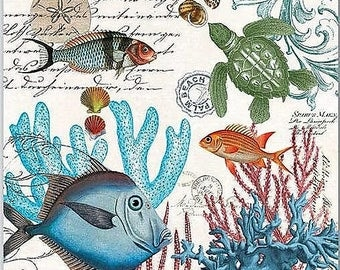 TWO (2) Sea Life, Fish, Turtles, Coral, Beach Paper Cocktail Napkins for Decoupage and Paper Crafts
