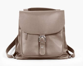Benjamin Gray - Gray backpack transformer / Gray leather backpack / Gray leather bag / Gray backpack / Gray leather bag /