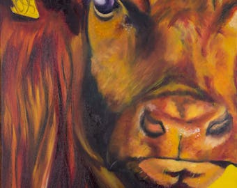 Limited Edition FRAMED PRINT of BULL in Purple and yellow from original oil painting
