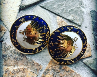 Vintage Cloisonné White Navy Blue and Gold Trimmed Sun Moon and Stars Round Post Earring Set
