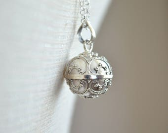 Sterling Silver Ornate Angel Caller Pendant + 30 inch Sterling Silver Chain~ Harmony Ball ~ Pregnancy Chime ~ Bola Ball