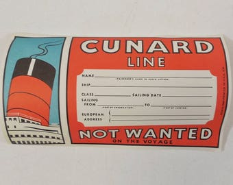 Cunard Line Cruise Ship ' Not Wanted On Voyage ' Luggage Label Tag, Unused 1965