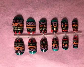 Tribal Print Fake Nails Colorful False Nails Rainbow Glue On Nails Graphic Press On Nails