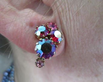 Multi Colored Woman's Clip on Iridescent Vintage Earrings - Excellent condition