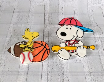 Fondant Snoopy inspired 2D cake topper birthday, baby shower Snoopy and Woodstock