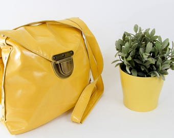 Yellow Women's Backpack, Genuine Leather Bag, Handmade Bag, Soft Italian Leather, Crossbody Bag, Everyday Bag, Office Bag, College Bag, Tote