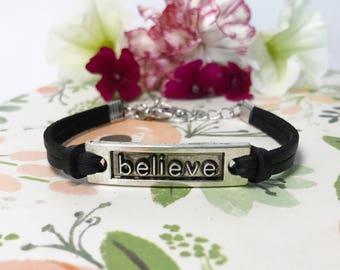 Believe Charm Bracelet | Faux Suede Bracelet | Faux Leather Bracelet | Bohemian Jewelry | Boho Bracelet | Vegan Jewelry | Stack Bracelet