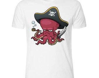 Pipe Smoking Pirate Octopus Men's White T shirt