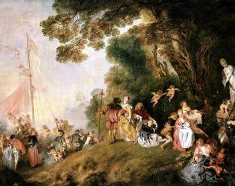 "Laminated placemat Watteau ""Gate to Cythera."""