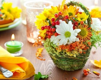Basket of flowers on a table placemat