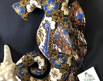 Brown and blue floral batik Seahorse softie