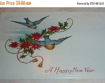 ON SALE Bluebirds and Poinsettias Antique New Year Postcard