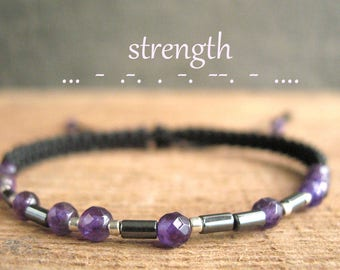 STRENGTH morse code, beaded man bracelet, secret message, birthstone gifts, inspiration, amethyst genuine gemstone, accessories, for him guy