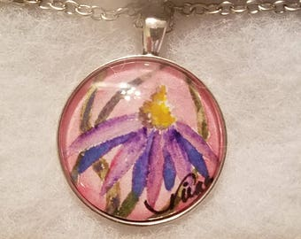 Purple Coneflower Miniature Original Watercolor Painting Under Crystal Cabochon Silver Necklace