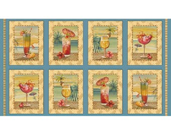 Paradise Delights Tropical Drink Patches Quilting Treasures  #24371-B