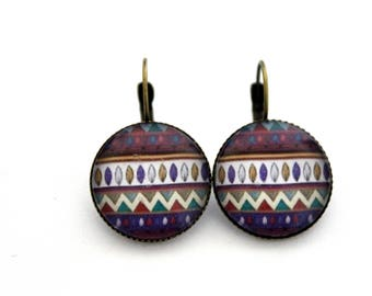 """Earrings sleepers """"Purple stripes and zig zag"""" cabochon 20mm"""