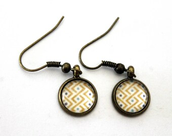 """""""Yellow and turquoise braid"""" cabochon earrings - retro bronze brass"""