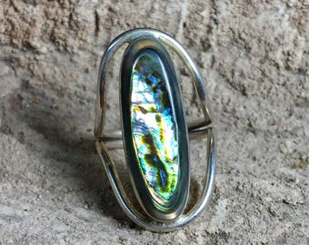 Vintage Abalone Ring - Mexican Rings - Sterling Silver rings - Huge rings - statement ring - abalone shell-Bohemian-Hippie -festival-Size 7