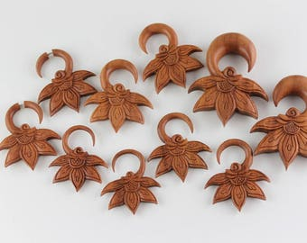 Lady Bud Hand Carved Wood Hanging Plugs - Carved Hangers for Stretched Ears - A063