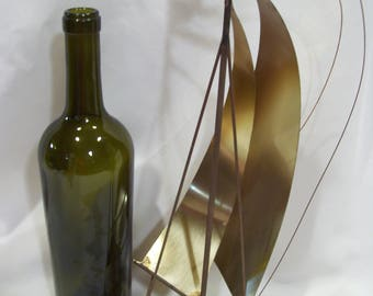 Vintage Large DeMott Metal and Onyx Sailboat Sculpture Tall Sailboat with Artist Signed Base